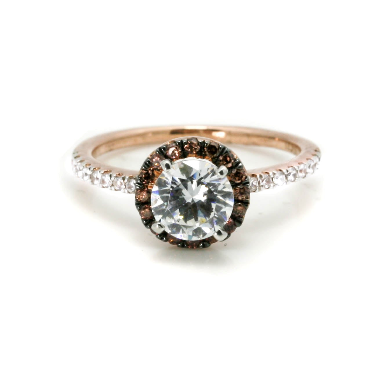 1 Carat Forever Brilliant Moissanite, Chocolate Brown Diamond Halo, White Diamond Accent Stones, Rose Gold, Engagement Ring - FB94639