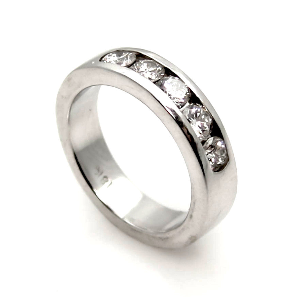 Diamond Wedding Band With 5 Round Cut Diamonds .5 Carat Total - G6000