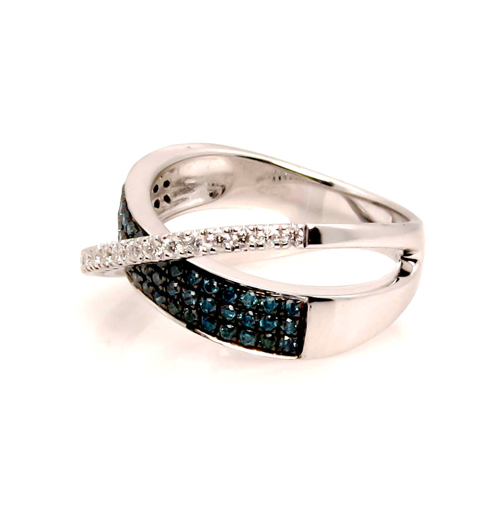 Blue & White Diamond 14K White Gold Ring, Cocktail Ring, Overlapping Wedding Band - QCJR9106DBW