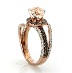 Unique Floating Halo Rose Gold Diamond, 1 Carat Morganite, Fancy Brown Diamonds Engagement Ring, Anniversary - MG94619