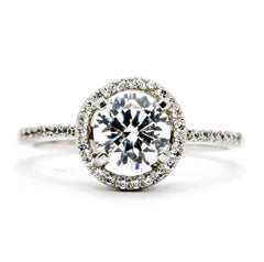 Diamond Engagement Ring Floating Halo, 1 Carat Diamond Center Stone & .20 Carat Diamond Accent Stones, Anniversary Ring - WD85037