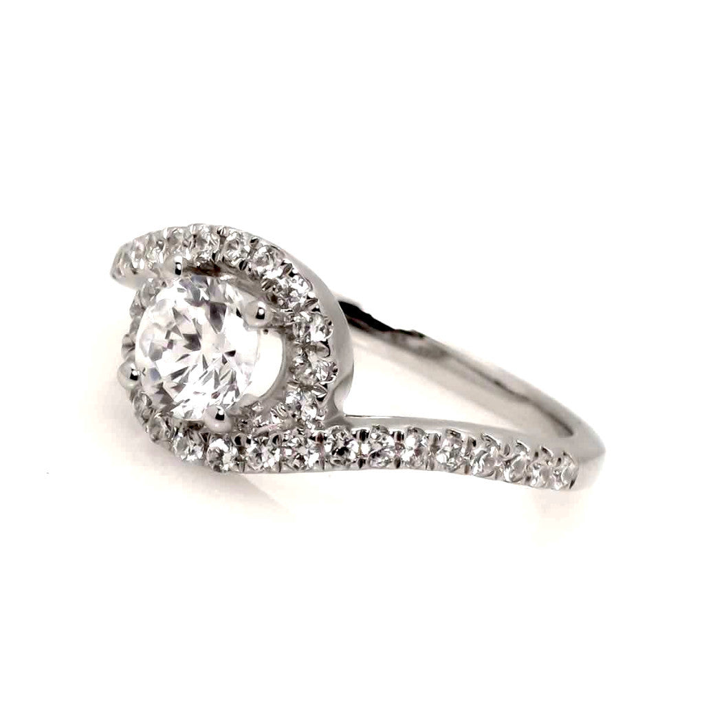 1 Carat Unique Floating Halo Forever Brilliant Moissanite Engagement/Wedding Set, with .66 Carat Diamonds, Anniversary Ring - FBY11354