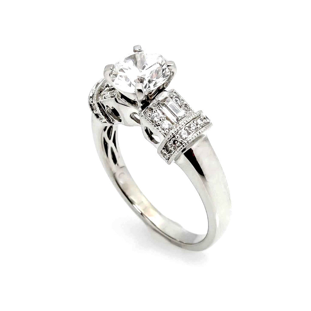 Semi Mount For 1 Carat Center Stone & .35 Carat Diamonds, Unique Design Engagement Ring, Anniversary Ring - 73929