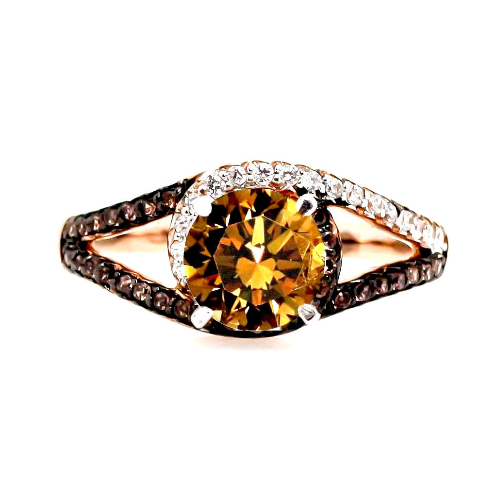 Unique 1 Carat Fancy Brown Diamond, Floating Halo, Rose Gold Engagement Ring, .27 Carat White & Fancy Brown Diamonds, Split Shank - BD94648ER