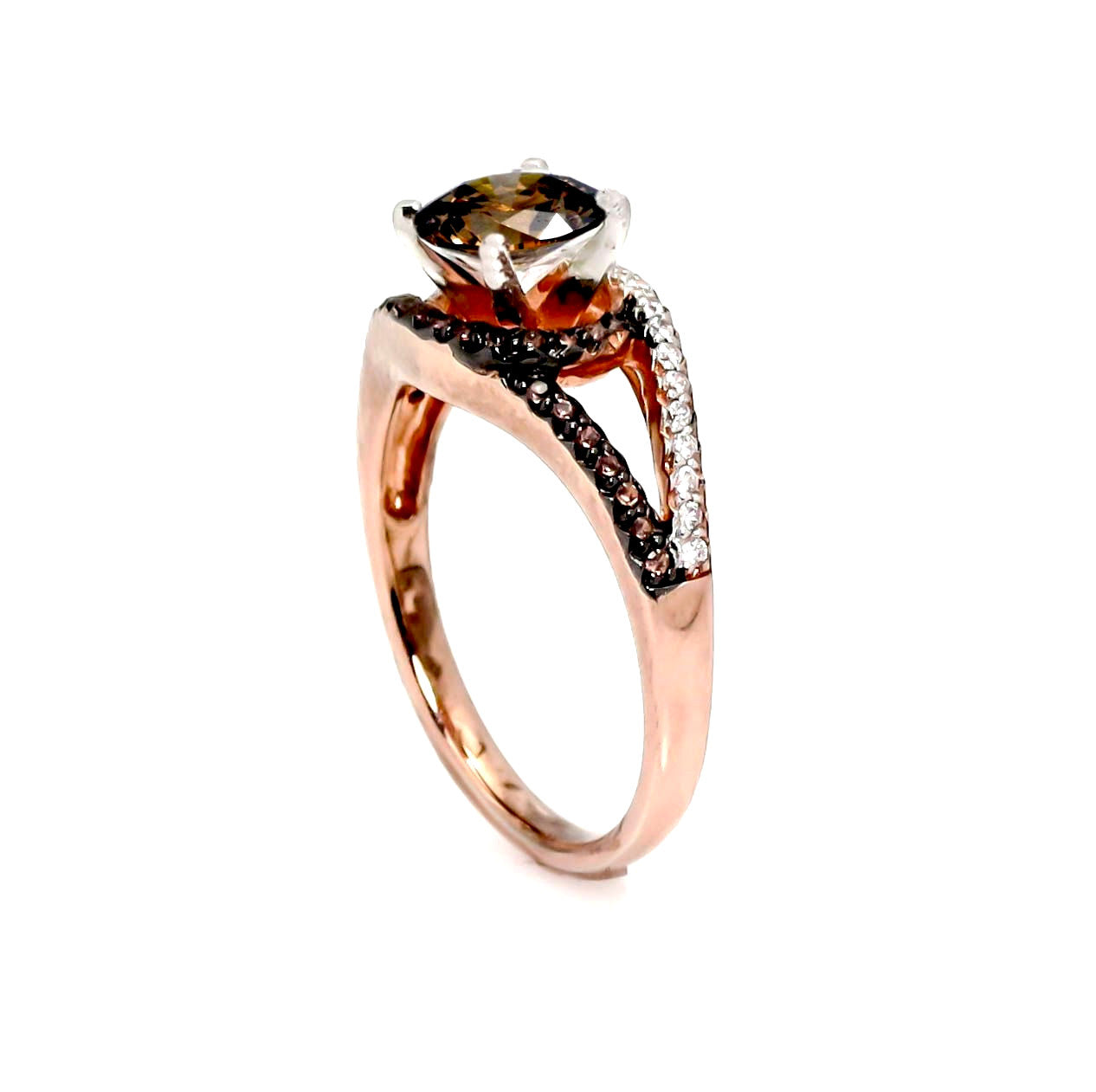 Unique 1 Carat Fancy Brown Smoky Quartz, Floating Halo Rose Gold Engagement Ring, .27 Carat White & Fancy Brown Diamonds, Split Shank - SQ94648ER