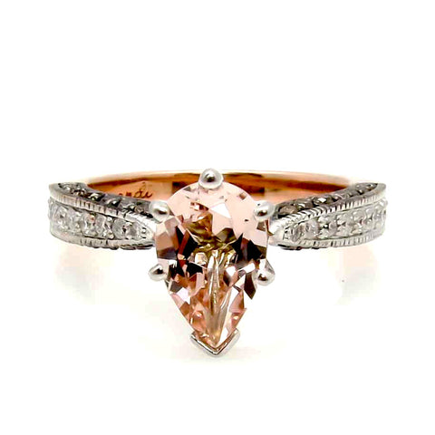 Pear Shaped Morganite Engagement Solitaire, White & Fancy Brown Diamonds, Rose Gold Anniversary Ring - PSMG94614
