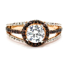 Floating Halo Rose Gold, White & Chocolate Color Brown Diamonds, 1 Carat Forever Brilliant Moissanite Center Stone, Engagement Ring, Anniversary Ring - FB94617