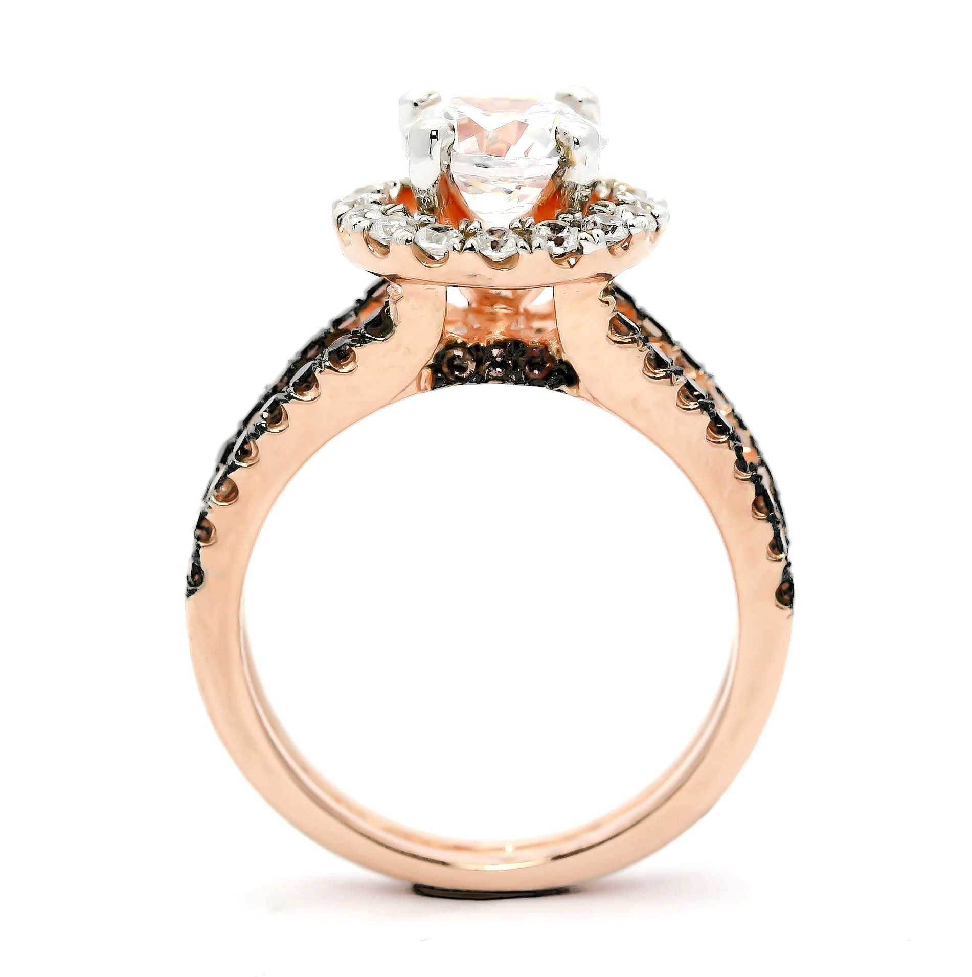 1 Carat Morganite with Black Diamonds, Floating Halo Rose Gold Engagement Ring With 1.02 Carats of White and Black Diamonds, Anniversary Ring - MG94654B