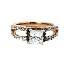 Unique 1 Carat Princess Cut Forever Brilliant Moissanite Floating Halo Rose Gold Engagement Ring, .52 Carat White & Chocolate Brown Diamonds, Split Shank - FB94624