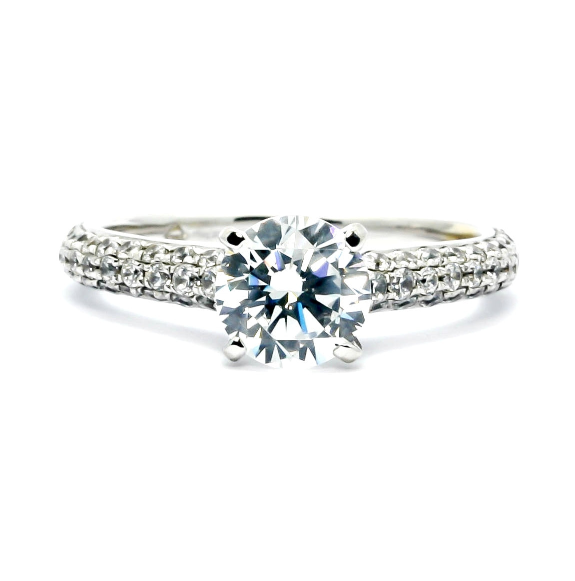 Solitaire Engagement Ring with 1 Carat Forever Brilliant Moissanite & .75 Carat Diamonds - FB73765