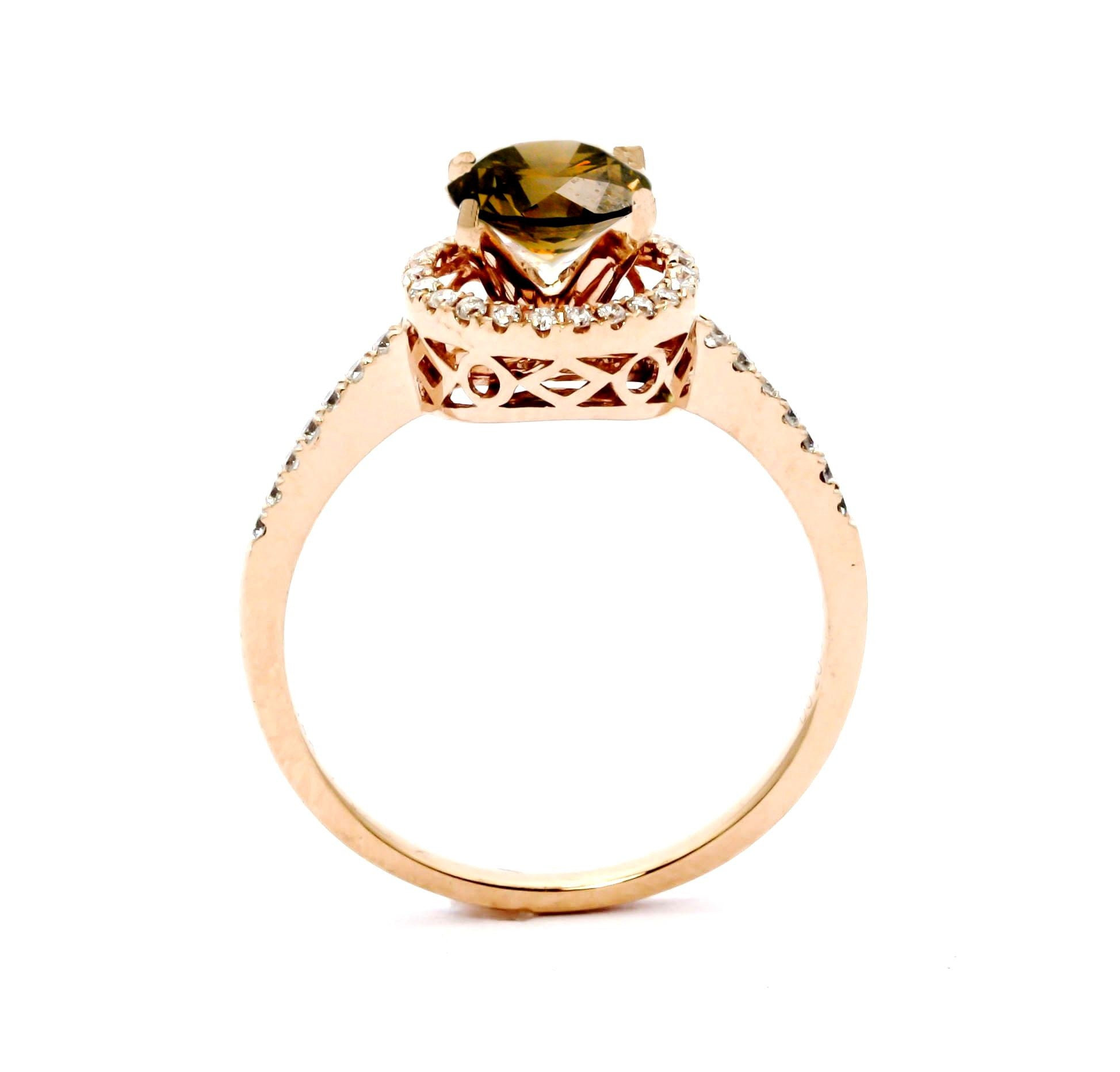 1 Carat Fancy Brown Smoky Quartz Halo Ring, With White Diamond Accent Stones, Rose Gold, Engagement Ring Anniversary Ring - SQ85037