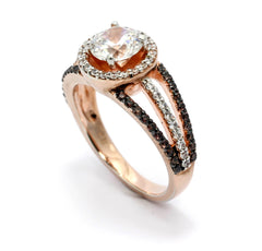 Floating Halo Rose Gold, White & Chocolate Color Brown Diamonds, 1 Carat Forever Brilliant Moissanite Center Stone, Engagement Ring, Anniversary Ring - FB94646