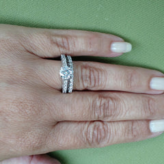Diamond Engagement Ring Wedding Set, Solitaire With 1 Carat Forever Brilliant Moissanite & 1.0 Carat Diamonds - FB76339