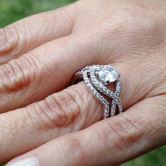 Diamond Engagement Ring and Wedding Set, Unique Infinity Style With 1 Carat Forever Brilliant Moissanite + .75 Carat Diamonds, Split Shank - FB85040