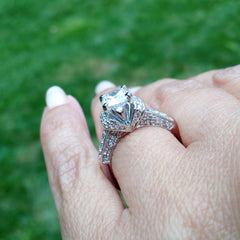 Vintage Style Moissanite Engagement Ring, Unique 1 Carat Forever Brilliant Moissanite Ring, With .65 Carat Of Diamonds, Anniversary Ring - FB73044