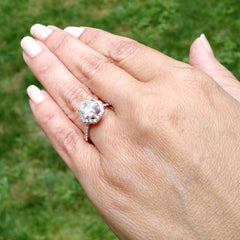 Unique Hexagon Shaped Floating Halo, 2 Carat Forever One Moissanite Engagement Ring with .65 Carat Diamond - FB61764