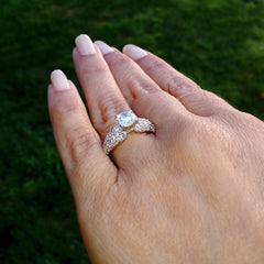 Moissanite Engagement Ring, Unique Solitaire With 1 Carat Forever Brilliant Moissanite & .75 Carat Diamonds, Anniversary Ring - FB76304
