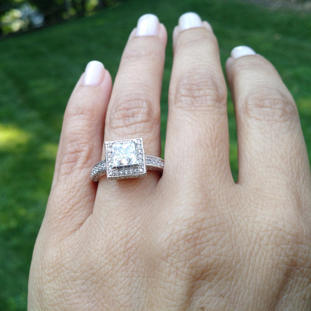 centre unique ring square engagement diamond degree band princess a at rings with trinity angle setting cut set gia split