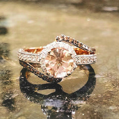 Unique Halo Rose Gold Diamond, 1 Carat Morganite, Chocolate Brown Diamonds Engagement Ring, Anniversary Ring - MG94649