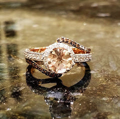 Unique Halo Rose Gold Diamond, 1 Carat Morganite, Fancy Brown Diamonds Engagement Ring, Anniversary Ring - MG94649