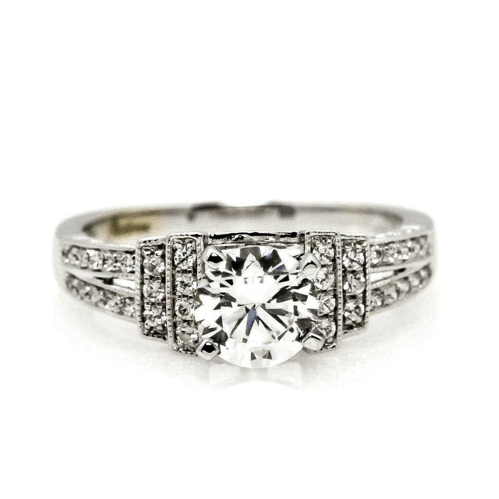 Semi Mount Engagement Ring, Unique For 1 Carat Round Cut Center Stone  Art Deco. With .30 Carat Diamond, Split Shank Anniversary Ring - 76305