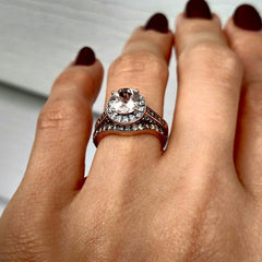 Moissanite Engagement Ring, Unique 1 Carat Floating Halo Rose Gold, White & Fancy Color Brown Diamonds, Forever Brilliant Moissanite. - FB94641