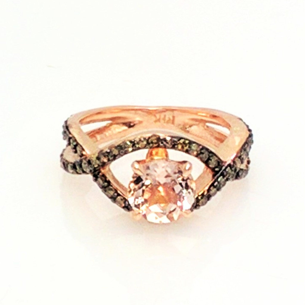 Unique Infinity Ring, Engagement / Wedding Set, Rose Gold, Chocolate Color Brown Diamonds, 1 Carat Morganite - MG94615