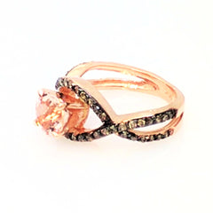 Unique Infinity Ring, Engagement / Wedding Set, Rose Gold, Fancy Color Brown Diamonds, 1 Carat Morganite - MG94615
