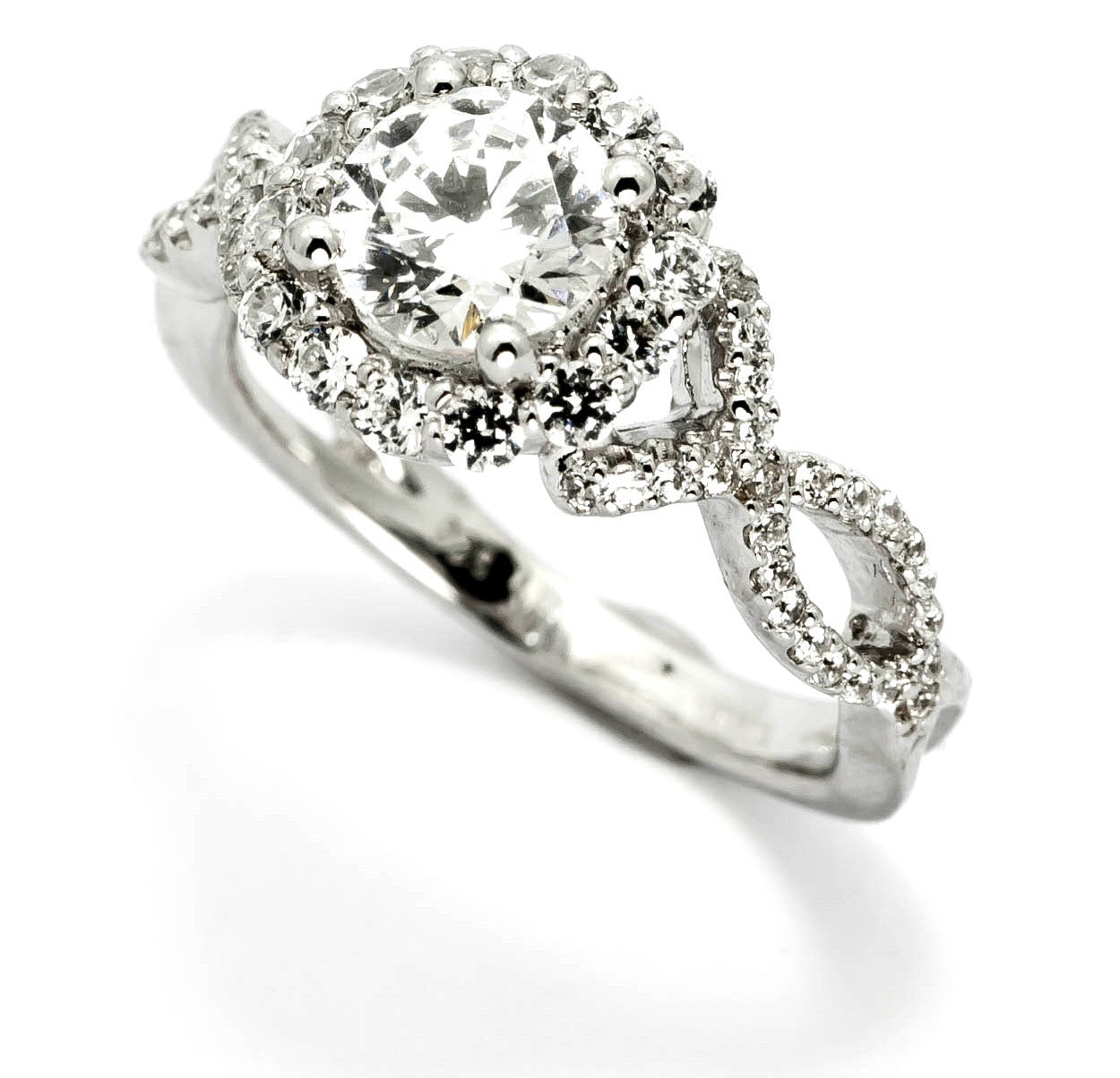 Semi Mount For 1 Carat (6 mm) Center Stone, Floating Halo Engagement Ring With .52 Carat White Diamonds, Unique Shank - Y11328