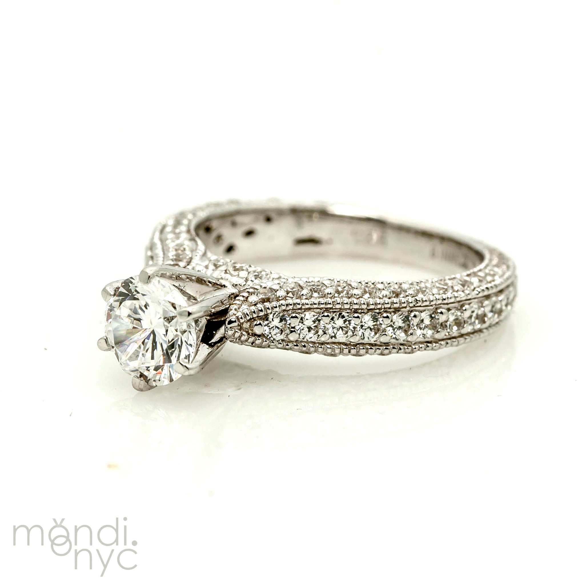 Semi Mount, Art Deco Style Engagement Ring, For 1 Carat Center Stone, With 1.07 Carat Of Diamonds, Anniversary Ring - Y11302