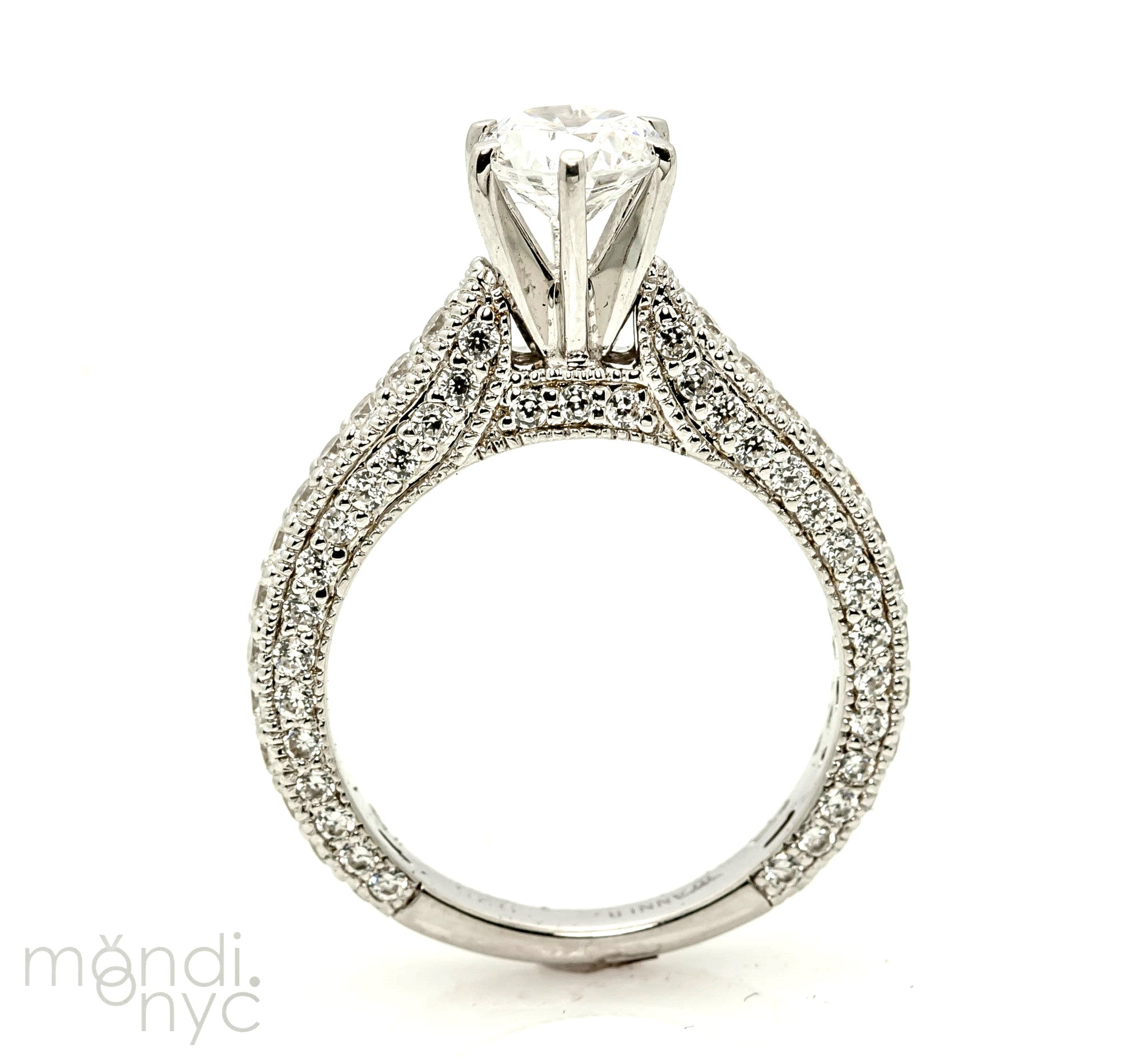Art Deco Style Moissanite Engagement Ring, Unique 1 Carat Forever Brilliant Moissanite Ring, With 1.07 Carat Of Diamonds, Anniversary Ring - FBY11302