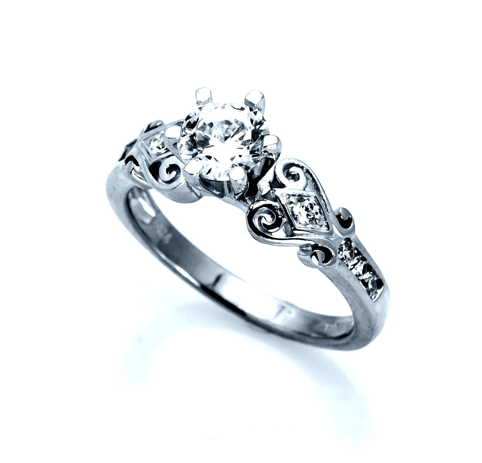 Antique Vintage Design Diamond Engagement Ring, Unique Solitaire .75 Carat GIA Certified Diamond Center Stone & .26 Carat Diamonds, Anniversary Ring - WDY11359