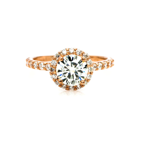 Semi Mount Engagement Ring, Unique Floating Halo For 1 Carat Center Stone, Has .45 Carat Diamonds, Anniversary Ring - Y11659