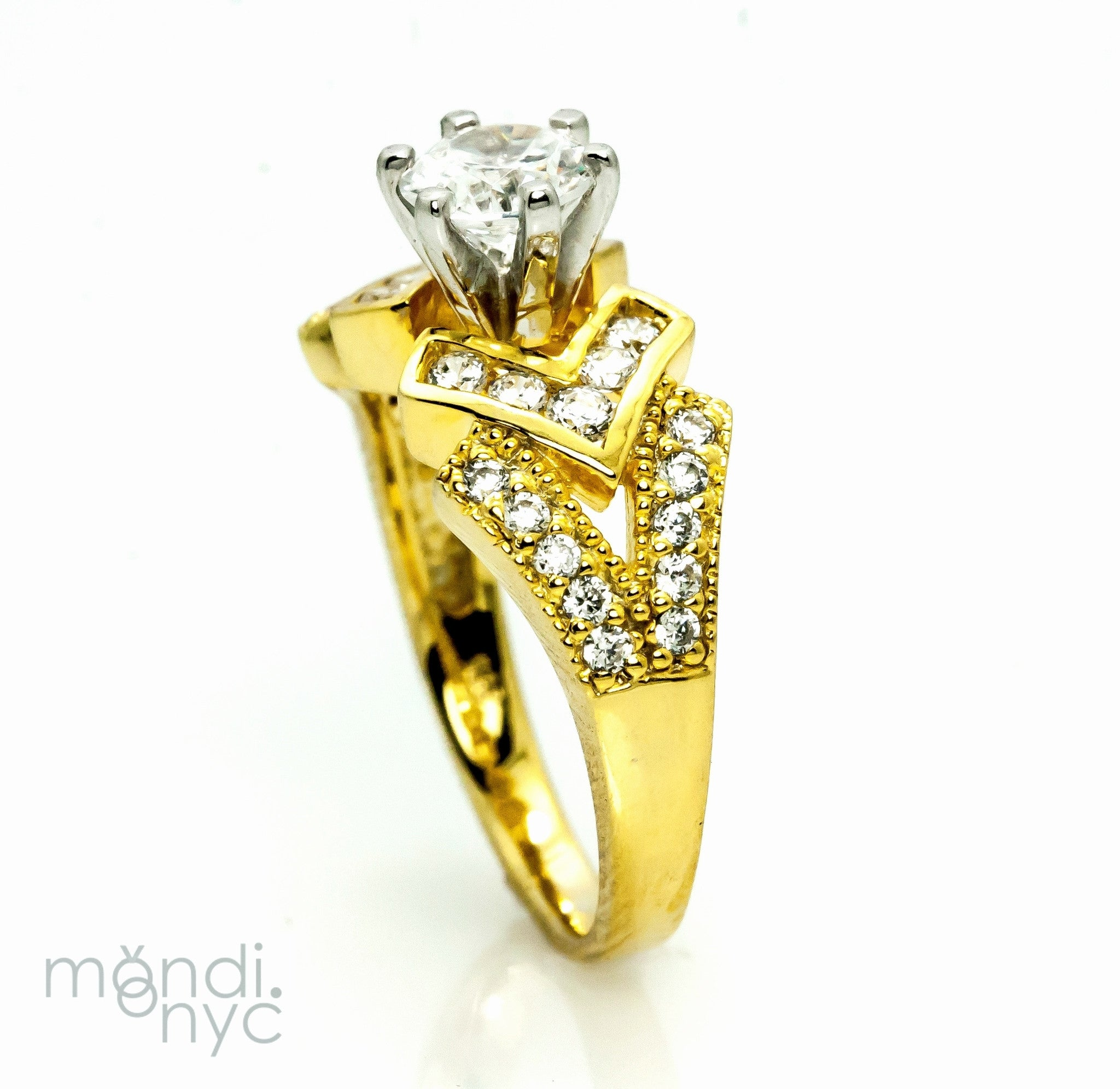 Semi Mount For 1 Carat Center Stone With .58 Carat Diamonds, Unique Design, Engagement Ring, Anniversary Ring - Y1864