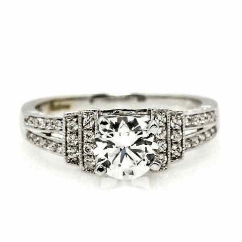 Moissanite Engagement Ring, Unique 1 Carat Forever Brilliant Art Deco Moissanite Ring, With .30 Carat Diamond, Split Shank Anniversary Ring - FB76305