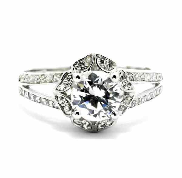 Moissanite & Diamond Halo Engagement Ring, Unique With 1 Carat Forever One / Brilliant Moissanite Split Shank With Diamond Accent Stones - FBY11561