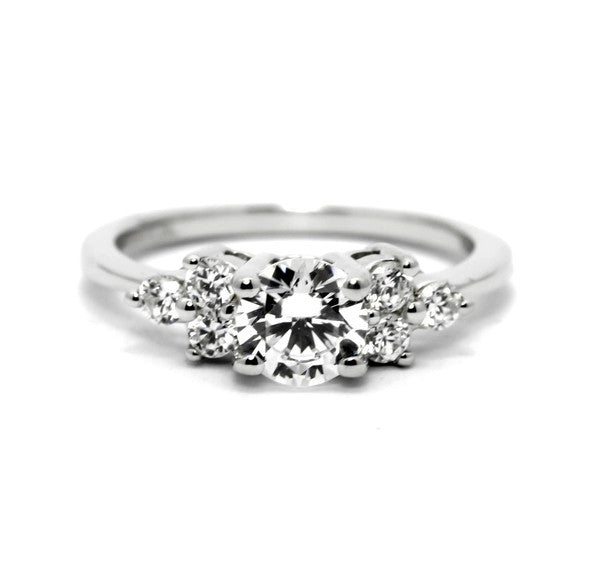 Moissanite Engagement Ring, Unique 1 Carat (6.5 mm)  Forever One / Brilliant Moissanite Center Stone & .34 Carat Diamonds, Anniversary Ring - FBY11602