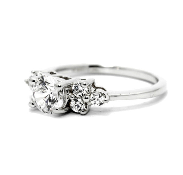 Semi Mount Engagement Ring, Unique For 1 Carat (6.5 mm) Center Stone & .34 Carat Diamonds, Anniversary Ring - Y11602