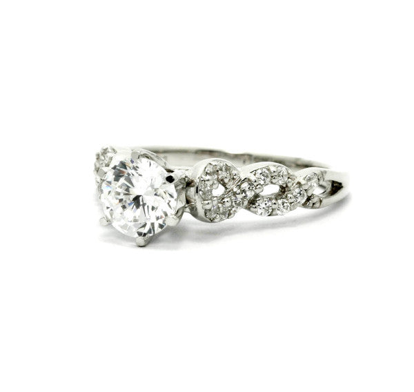 Moissanite Engagement Ring,  Unique 1 Carat Forever Brilliant Moissanite Center Stone, Solitaire, Infinity Shank, Anniversary Ring - FBY11613
