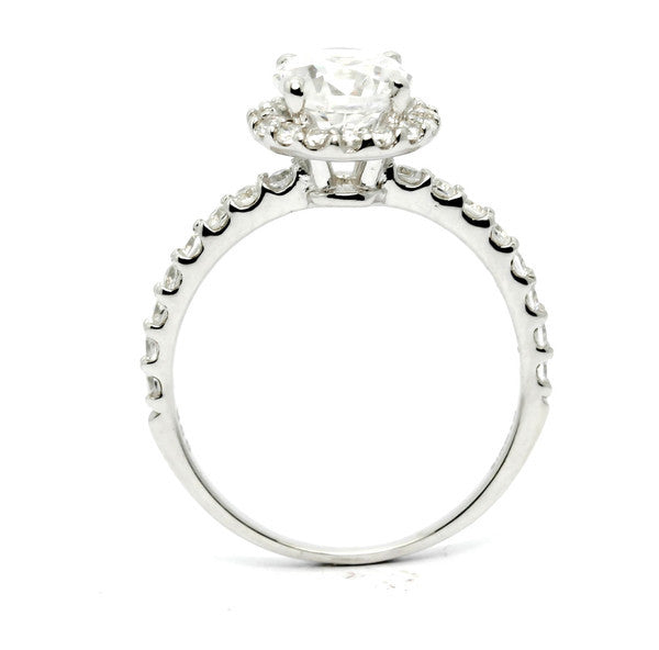 Moissanite Engagement Ring, Unique Floating Halo With 1 Carat Forever One / Brilliant Moissanite & .45 Carat Diamonds, Anniversary Ring - FBY11659