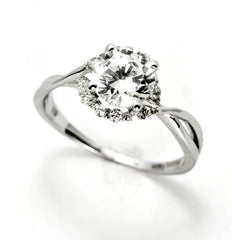 Moissanite Engagement Ring, Unique Halo Design With 1 Carat (6.5 mm) Forever One/Brilliant Moissanite & .17 Carat Diamonds, Anniversary Ring - FBY11657