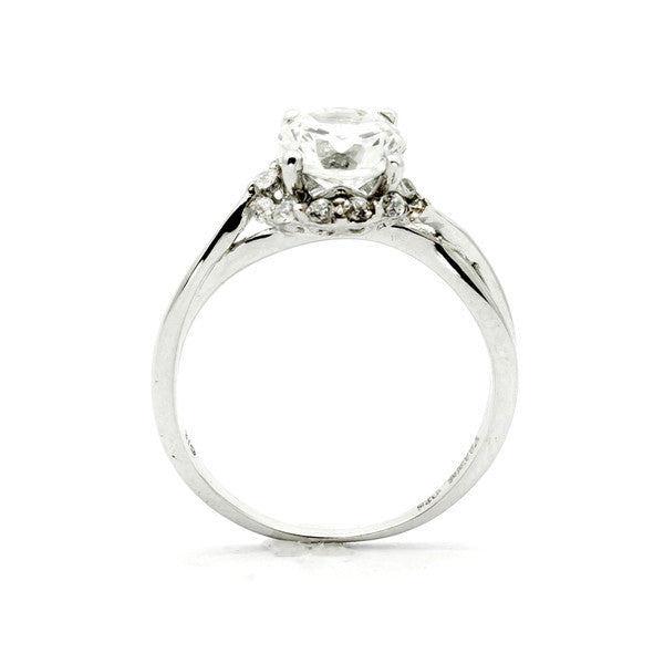 Moissanite Engagement Ring, Unique Halo Design With 1 Carat (6.5 mm) Forever One Moissanite & .17 Carat Diamonds, Anniversary Ring - FBY11657