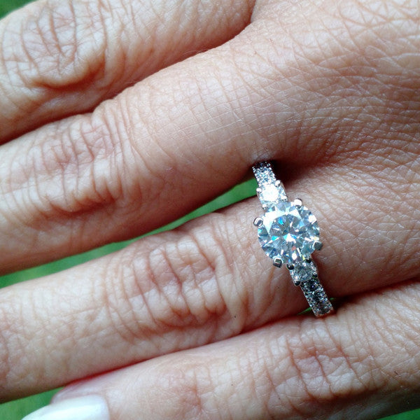 Moissanite Engagement Ring, Unique Solitaire 1 Carat Forever Brilliant Moissanite Center Stone, & .35 Carat Diamonds, Anniversary Ring - FB76302