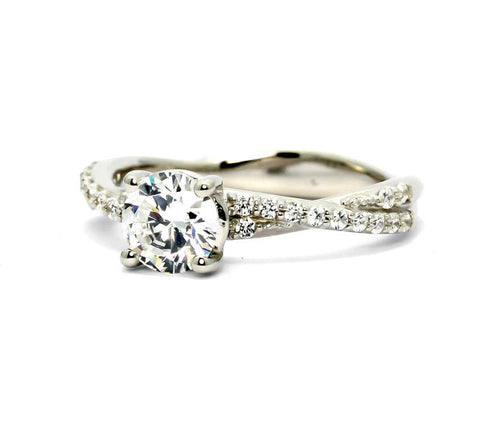 Moissanite Engagement Ring, Unique Solitaire 1 Carat Forever One / Brilliant Moissanite Stone & .25 Carat Diamonds, Anniversary Ring - FBY11569SE
