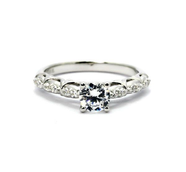 Moissanite Engagement Ring, Unique Solitaire 6.5 mm Forever One Moissanite Center Stone & .16 Carat Diamonds, Anniversary Ring - FBY11690SE