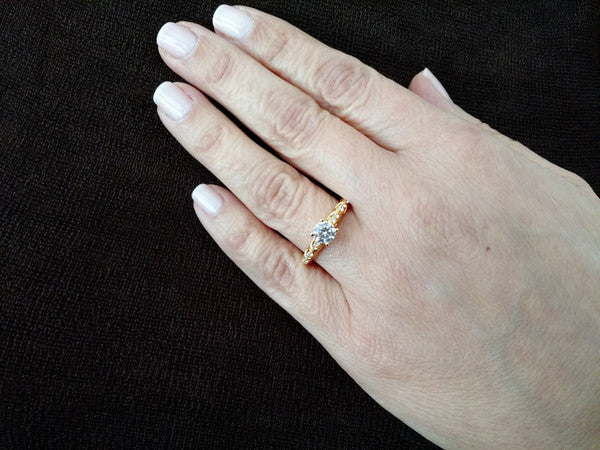 Special Order For Dupreme: Moissanite Engagement Ring, Unique Solitaire 8 mm Forever One Moissanite Center Stone & .16 Carat Diamonds, Anniversary Ring - FB2Y11690SE
