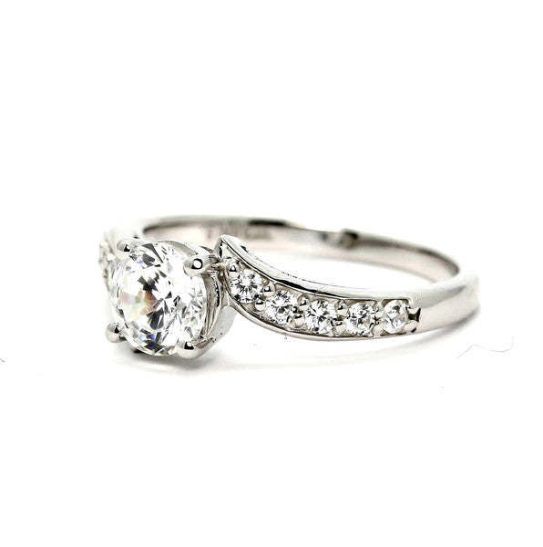 Semi Mount Engagement Ring, Unique Solitaire 6.5 mm Center Stone & .32 Carat Diamonds, Anniversary Ring - Y11571