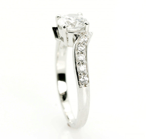 Moissanite Engagement Ring, Unique Solitaire 6.5 mm Forever Brilliant Moissanite Center Stone & .32 Carat Diamonds, Anniversary Ring - FBY11571