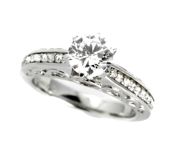 Moissanite Engagement Ring, Unique Solitaire With 1 Carat Forever Brilliant Moissanite & .25 Carat Diamonds, Anniversary Ring - FBY11615