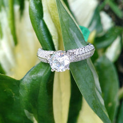Moissanite Engagement Ring, Unique Solitaire With 1 Carat Forever Brilliant Moissanite & .40 Carat Diamonds, Anniversary Ring FB85044